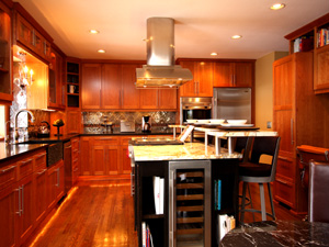 Custom kitchen island cabinets mn for Two level kitchen island