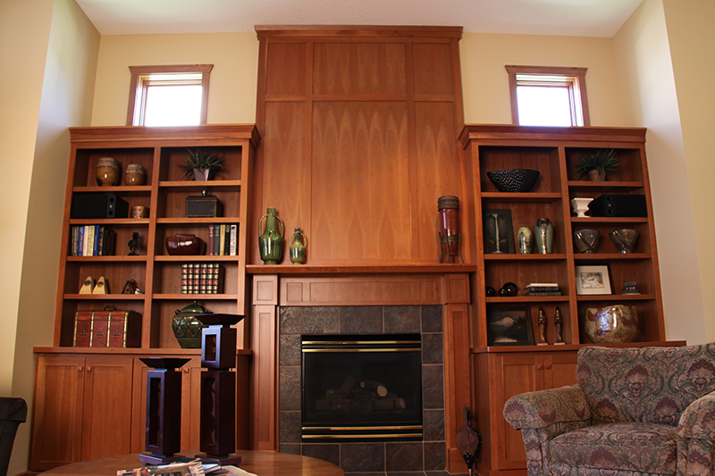 Custom Cherry Fireplace and Bookshelf