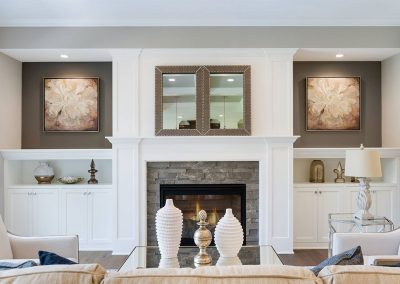Custom Fireplace Surround with Custom Cabinets